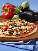 Mediterranean pizza with aubergines and peppers