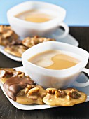Pecan nut confectionery served with coffee