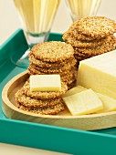 Sesame crackers with cheese