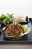 Spicy mushroom salad with rice