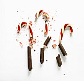 Brown chocolate-dipped candy canes