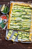 Marinated courgette tart with buffalo mozzarella