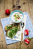 Radish and spring onion dip with chive bread