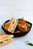 Club sandwich with avocado