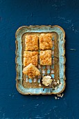 Almond slices on a tray