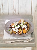 Grilled chicory with feta cheese