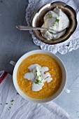 Carrot and ginger soup with cream