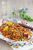 Warm Mediterranean farro salad with mushrooms, tomatoes and fresh oregano