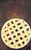 Berry pie with a lattice crust (unbaked)