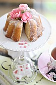 A mini Bundt cake and a cup of tea