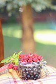 Raspberries and redcurrants in a jar on a garden chair