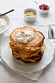 Pancakes with coconut and cinnamon quark
