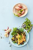 Tofu with a mango and lentil salad