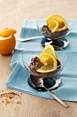 Mousse au chocolat with orange slices