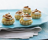 Puff pastry vanilla tartlets topped with meringue