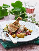 Baked chicken with potatoes and beetroot sauce