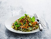 Rice noodles with colourful vegetable strips