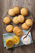 Lemon biscuits on a wire rack