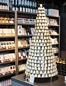 A tower of white-chocolate covered marshmallows at the Torvehallerne market in Copenhagen