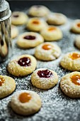Husarenkrapfen (shortbread jam biscuits) with icing sugar