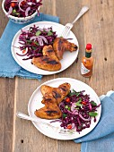 Grilled chicken wings with red cabbage salad