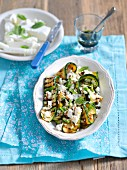 Grilled courgette with feta cheese, garlic and balsamic sauce