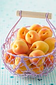 Fresh apricots in a lilac-coloured wire basket