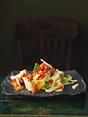 Spelt pappardelle with turnip bolognese and tomatoes