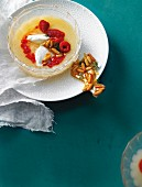 Peach melba soup with thyme brittle