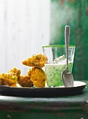 Pakora with dill and raita