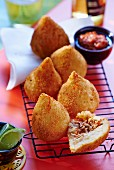 Coxhinhas (fried, battered chicken balls, Brazil)