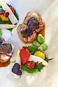 Filet Mignon vom Kalb mit Trüffeln & Gemüse (Aufsicht)