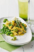 Fusilli carbonara with sorrel and broad beans