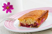 A slice of damson cake