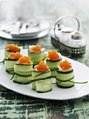Cucumber rolls with caviar