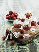 Strawberry and muesli desserts