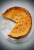 Glazed apple tart, sliced