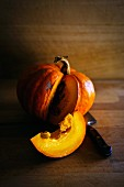 A sliced, orange pumpkin