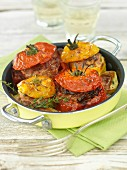 Baked, filled tomatoes with thymes