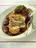 Pork roulade with morel mushroom sauce