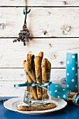 Salted poppyseed and lavender bread sticks