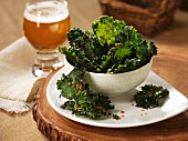 Green kale crisps and beer