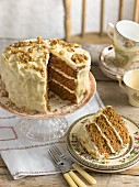 Pumpkin cake with walnuts, sliced