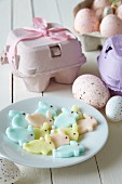 Pastel-coloured fondant Easter bunnies