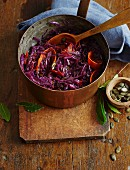 Balsamic red cabbage with pumpkin strips