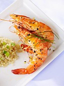 Spicy king prawns with quinoa