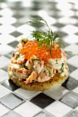 Toast with crayfish, mayonnaise, dill and trout caviar