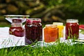 Homemade jams in a garden