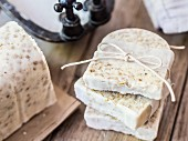 Homemade white soap with oats