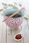 Miso soup with red miso paste